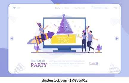 Happy new year 2020, time to party illustration on landing page