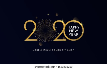 Happy new year 2020 typography text celebration poster design. glowing golden number with gold fireworks explosion element and dark sky background vector illustration.