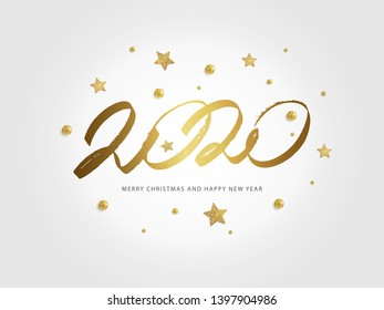 Happy New Year 2020. Vector holiday illustration with sparkling confetti and shining golden stars on white background.