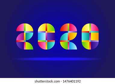 Happy New Year 2020. Vector Abstract Design Colorful Numbers on Blue Background