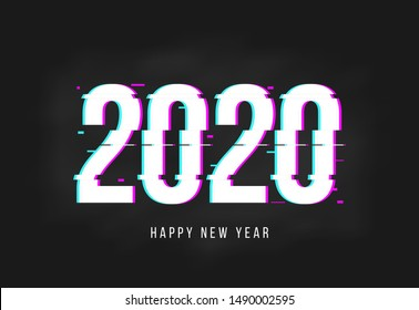 happy new year 2020 vector design on futuristic glitch style background for flyer banner gift and greeting card and poster.