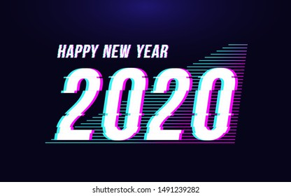 happy new year 2020 vector illustration in glitch style. futuristic distortion vector illustration for banner poster greeting card and flyer.