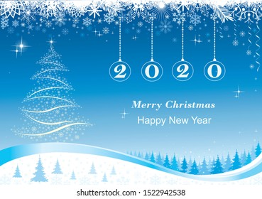 Happy New Year 2020. Vector design winter new year background with Christmas trees and snowflakes, date 2020 in balls, landscape with fir trees and snow, decorated beautiful ornament