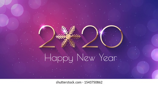 Happy New Year 2020 Violet Greeting Card or Banner Template. Vector background with golden numbers and snowflake