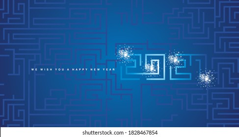 Happy New Year 2020 white sparkle firework cyberspace abstract high tech year 2021 typography blue background