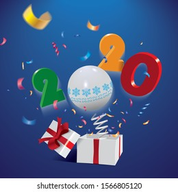 Happy New Year 2020,surprising box with year and colorful confetti jumping out like a jack in the box isolated on the blue background