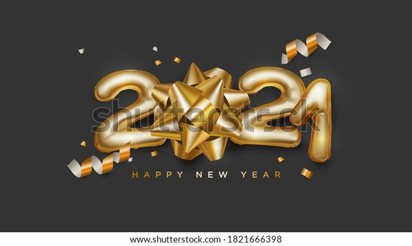 Happy new year 2021 3d black and gold lettering sign with confetti and star bows vector illustration