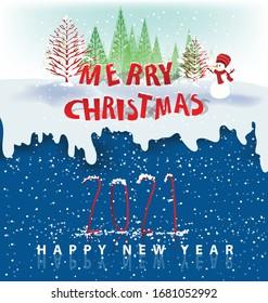 Plantilla de fondo Feliz Año Nuevo 2021. Plantilla de símbolos Feliz Navidad y Feliz Año Nuevo. Año nuevo chino, año del buey