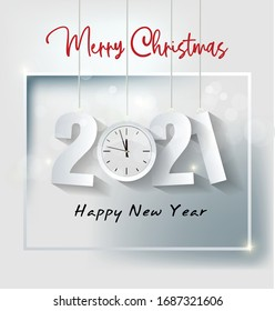 Happy New Year 2021 background template. Merry Christmas and Happy New Year holiday symbol template. Chinese new year, year of the ox