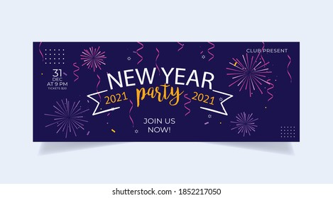 Happy New Year 2021 baner invitation party background. New Year 2021 illustration. New years poster, banner headers for website, landing page, backround etc.