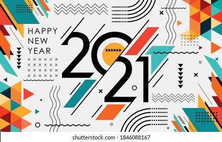 happy new year 2021 banner design with modern geometric abstract background in retro style. happy new year greeting card for 2021. Calligraphy includes colorful shapes. Vector illustration