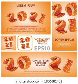 Happy New Year 2021 banners set. Numbers looks like salmon pieces style for sushi design.
