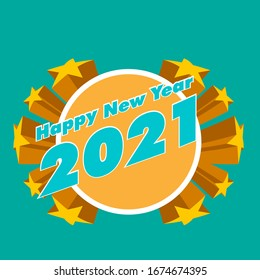 happy new year 2021, beautiful greeting card background or template banner with star theme. vector design illustration