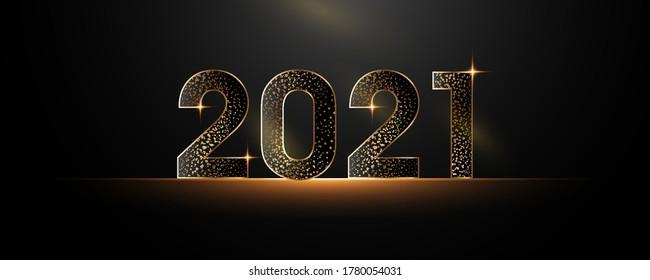Bonne année 2021. Numéros de papier noir avec paillettes Bonne année bannière avec 2021 numéros sombre image vectorielle fériée brillante illustration.