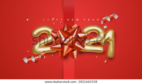 Happy new year 2021 celebrations 3d golden sign with confetti and star bows vector illustration