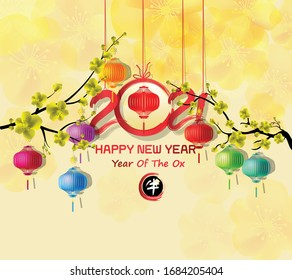 Happy new year 2021. Chinese new year, year of the ox