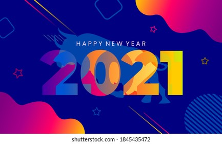 Happy New Year 2021 Colorful Template Greeting Card banners in paper style for seasonal holiday leaflets, greetings and invitations and cards Vector illustration