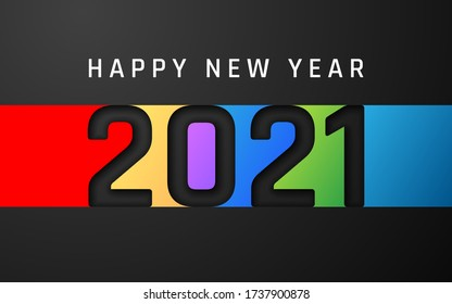 Happy New Year 2021 cover. Template of business design card, banner on dark bakground. Vector illustration.