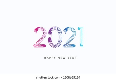 Happy new year 2021 creative greeting card with bright numbers