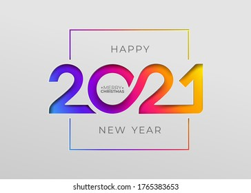 Happy new year 2021 elegant card in paper style for your seasonal holidays banners. Flyers, greetings, invitations, christmas themed congratulations. Vector illustration. Isolated on white background.