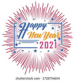 Happy new year 2021 with firework background. Firework display colorful for holidays.
