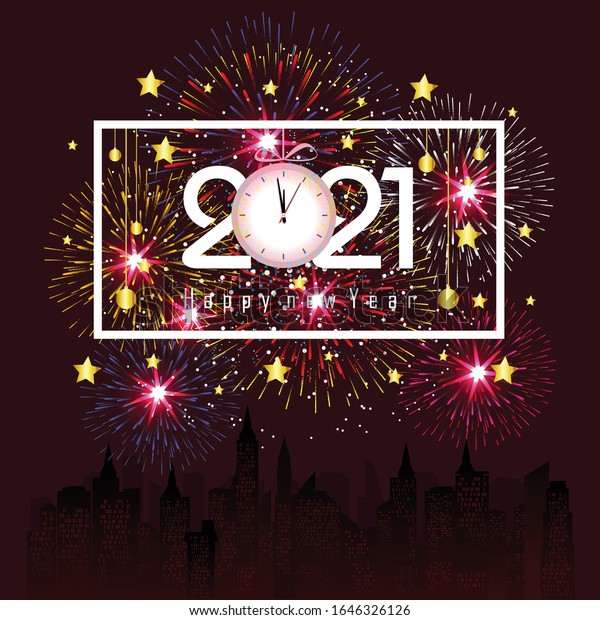 Happy New Year 2021 Firework Background Stock Vector (Royalty Free) 1646326126