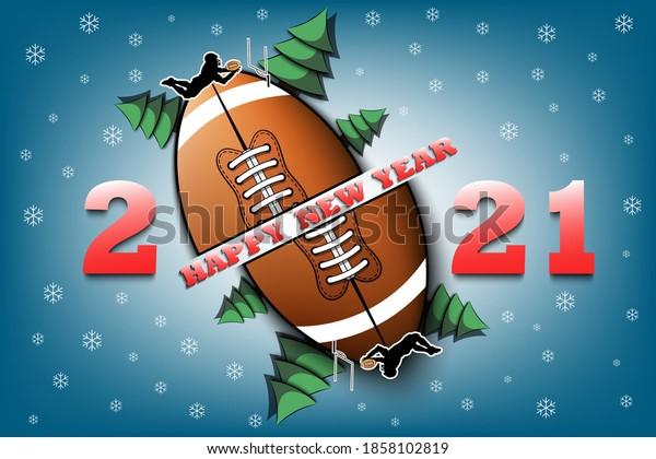 Football, Christmas Day, 2021 Happy New Year 2021 Football Ball Stock Vector Royalty Free 1858102819