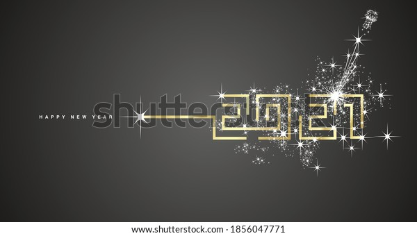 Happy New Year 2021 gold cyberspace abstract high tech digital communication new year 2021 typography white firework black background