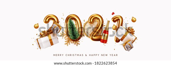 Happy New Year 2021. Golden metal number. Realistic 3d render sign. festive realistic decoration. Celebrate party 2021, Web Poster, banner, cover card, brochure, flyer, layout design. White background