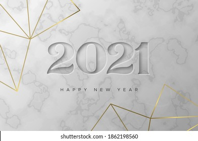 Happy New Year 2021 greeting card illustration. Luxury 3d white marble inscription sign with elegant geometric gold frame. Party invitation template, engraved number date design for VIP celebration.
