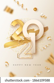 Happy New Year 2021 greeting card illustration. Realistic 3d gold number date sign on white background with golden party confetti and glitter. Luxury celebration invitation design for holiday event.