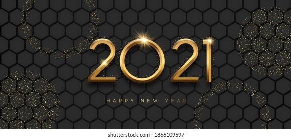 Happy New Year 2021 greeting card illustration. Realistic 3d gold number date sign on futuristic honeycomb background with golden glitter. Luxury party invitation design for special holiday event.