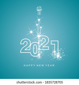 Happy New Year 2021 greetings firework white line design numbers white sea green aqua color background