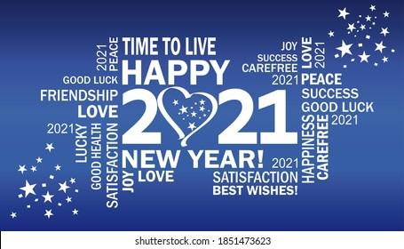 happy new year 2021 with heart and stars