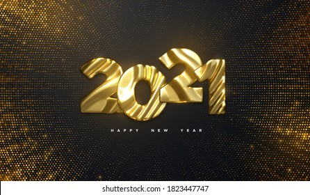 Happy New Year 2021. Holiday NYE event sign. Vector 3d illustration. Golden characters 2021 with wavy sculpted pattern. Shimmering background. Bursting backdrop with glitters. Festive banner design