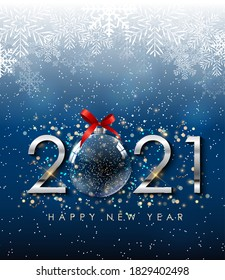 Happy New Year 2021 Holiday Background Template. Vector Illustration EPS10