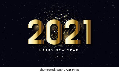 Happy new year 2021, with illustrations of golden figures and golden halftones.