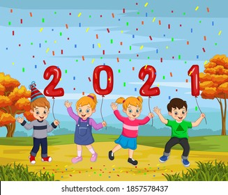 Happy New Year 2021 with kid holding a balloon numbers