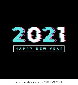 Happy new year 2021 logo text design, with glitch style text effect