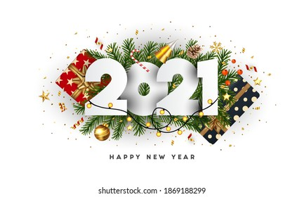 Happy New Year, 2021 numbers on Green Fir Branches and holiday ornaments on white background. Greeting card or promotion poster template. Vector illustration.