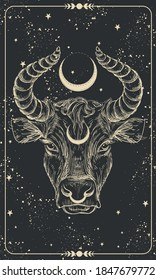 Happy New Year 2021 of the Ox, Ox-Taurus. Linear drawing on a black background, tarot, tattoo, chinese horoscope, astrology and zodiac signs. Vector illustration for poster, cover, calendar, logo