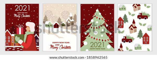Happy New Year 2021! Set of festive Christmas cards. Cartoon flat colorful style. Vector illustration. Gifts, houses, city, car and Christmas tree. A set of templates for cards, banners, posters.