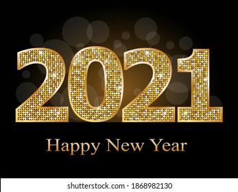 Happy new year 2021 text vector