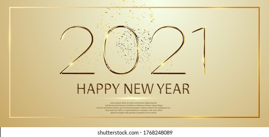 Happy New Year 2021 winter holiday greeting card design template. Party poster, banner or invitation gold glittering stars confetti glitter decoration. Vector golden background