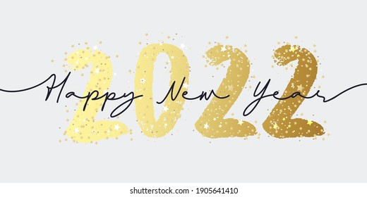 Happy New Year 2022 brush painted calligraphy numbers with sparkles and glitter. Vector illustration background for new year's eve and seasonal holidays flyers, greetings and invitations.