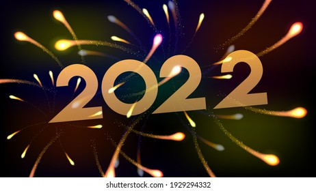Happy new year 2022 with firework background. Firework display colorful for holidays. Vector illustration