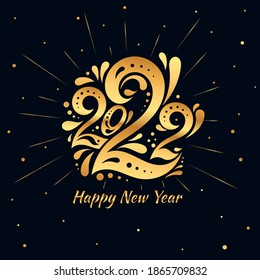 Happy New Year 2022. The golden logo of number 2022 in with curls. Template with web banner, poster, card, greeting for social networks and media. Vector gold logo 2022 isolated on black background.