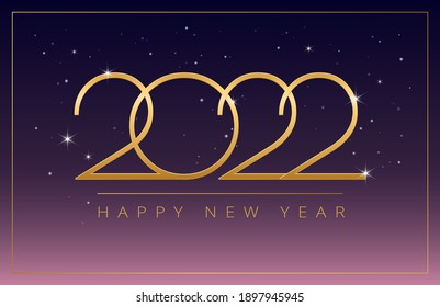 Happy New Year 2022 golden design on dark purple pink gradient shining background - vector horizontal illustration