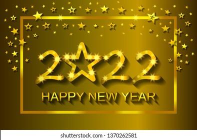 Happy New Year 2022 - greeting card, flyer, invitation - vector illustration