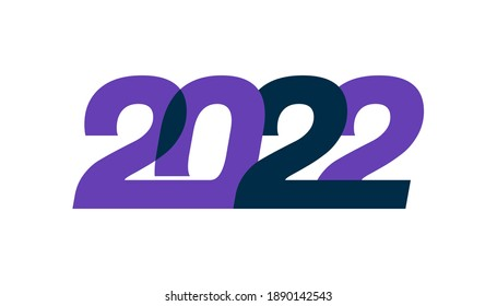 Happy new year 2022. Greeting card design for year 2022 calligraphy includes colorful shapes. Vector illustration